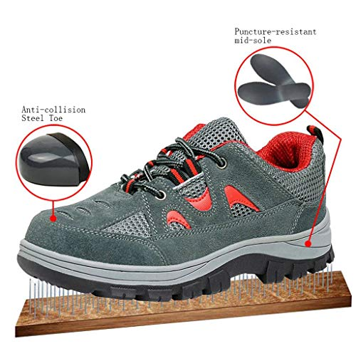Comp Work Shoes Optimal Safety Red Gray Shoes Men's Shoes Toe Steel FFqtX