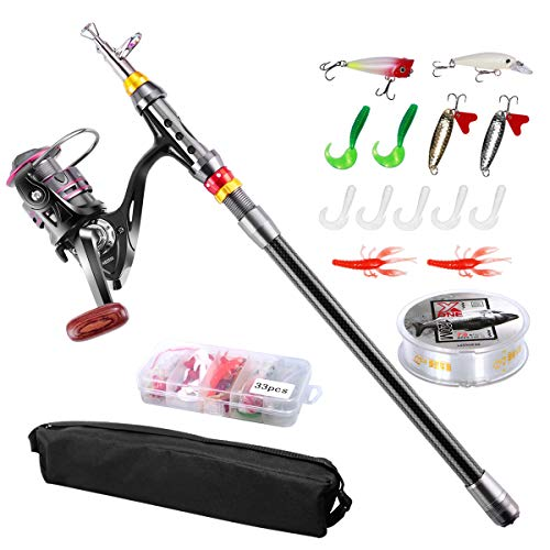 Telescopic Fishing Rod Set,FishOaky Spinning Fishing Gear Organizer Pole Sets with Full Kits Lure Case and Carry Bag  for Saltwater &Freshwater Kids&Adult (Best Freshwater Fishing Pole)