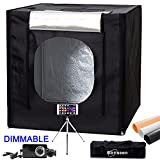 40''x40''X40'' 5500K LED Dimmable Large Photo Cube Tent Light Box Kit for Photography Studio Lighting Shooting Tent with Dimmer Adapter,Mini Tripod and 3 Colors PVC Backgrounds