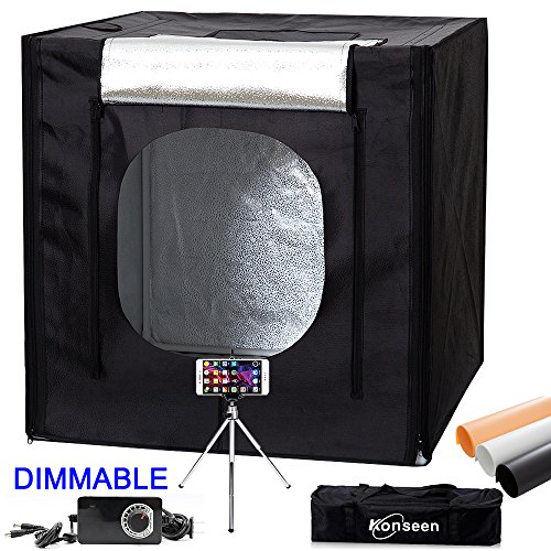 40''x40''X40'' Dimmable 5500K Large Studio LED Light Box Tent Kit Photography Lighting Cube Shoot Tent with Dimmer Adapter,Mini Tripod and PVC Backgrounds by Konseen