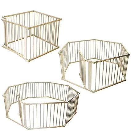 Monsieur Bébé ® Barrera de seguridad y parque bebé, corralito 4, 6 o 8 lados de madera - Norma EN 12227