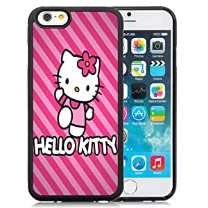 Beautiful Custom Designed iPhone 6 4.7 Inch TPU Phone Case For Pink Hello Kitty With Striped Background Phone Case Cover