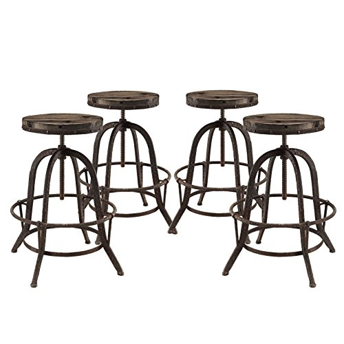Modway Collect Industrial Modern Rustic Farmhouse Wood Cast Iron Four Backless Bar Stools in Brown