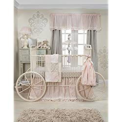 Glenna Jean Contessa Girl's Crib Bedding Set Quilt, Crib Skirt with Sheet Set, Pink/Cream