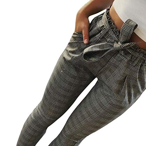 JOFOW Womens Pencil Pants Glen Plaid High Waisted Drawstring Strappy Windowpane Casual Slim Ankle Stretch Autumn Winter (XL =US:6-10,Gray) -