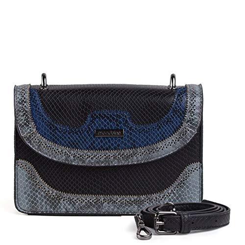 Bolsa Pequena Transversal Preta E Azul Phyton