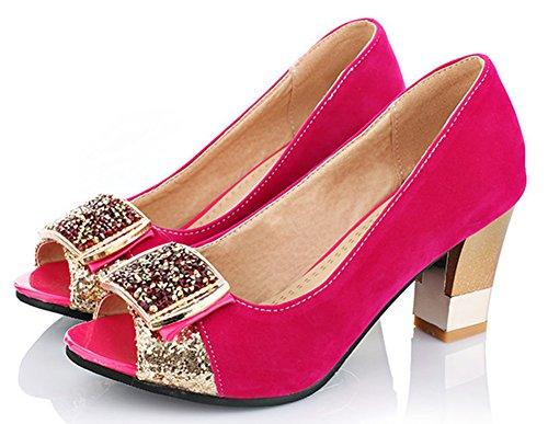Idifu Womens Strass Paillettes Punta Aperta Cinturino Alla Caviglia Pompe Tacco Grosso Scarpe Rosa Rossa