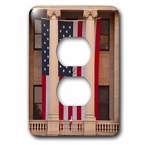 3dRose Danita Delimont - Flags - USA, GA, Savannah, Savannah City Hall displaying the American flag. - Light Switch Covers - 2 plug outlet cover - Ga Savannah Outlets