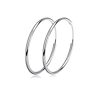 Image Unavailable. Image not available for. Color  Fashion 925 Sterling  Silver Stainless Steel Big Round Hoop Earrings ... 6c92d387f2a0