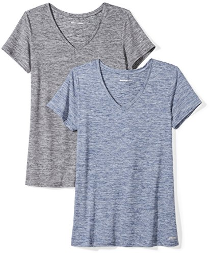 Amazon Essentials Women's 2-Pack Tech Stretch Short-Sleeve V-Neck T-Shirt, Black Navy Heather, XX-Large