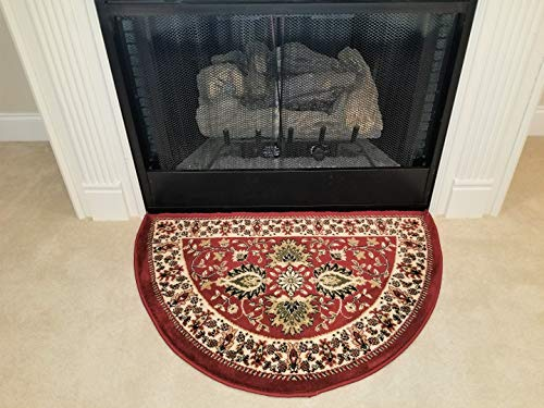 - GAD Classic Traditional Design Hearth Slice Rug Fire Flame Resistant Moon Shaped Red 2'2