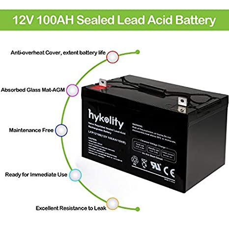 Hykolity 12V 100AH Deep Cycle AGM Battery SLA Sealed Lead Acid UB121000 Battery Replaces 12 Volt 90AH