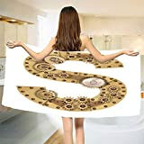smallbeefly Letter S Bath Towel Gearwheel Technology Typography Design with S Retro Style Clench Bolt Machine ABC Bathroom Towels Sand Brown Size: W 27.5'' x L 57''