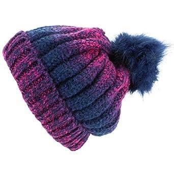 ba39563b68e Hawkins Colour Fade Bobble Beanie Hat with Faux Fur Pom - Navy   Amazon.co.uk  Clothing
