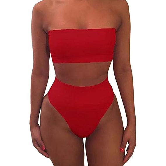 Amazon.com: Harmily Cultivos de Color Sólido Sujetador del Bikini Traje de Baño ropa de Playa Conjunto de Mujeres de la muchacha: Clothing