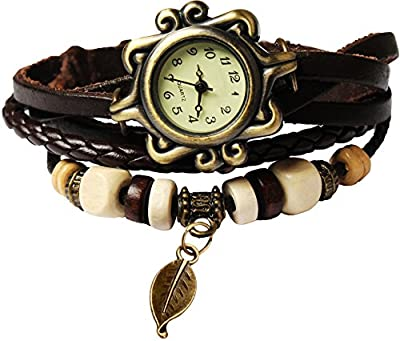 Bohemian Style [Retro] Handmade Leather [Tree Leaf] Wrist Watch. Beautiful, Fashionable [Luxury] & Stylish [Weave Around] Wrap Watch Bracelet For Women, Ladies, Girls- Brown
