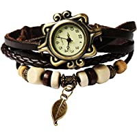 Estilo de Bohemia [Retro] Handmade Funda de piel [Árbol Leaf] Wrist Watch. Hermoso, de moda [Lujo] & Elegante Reloj [Weave Alrededor] Wrap pulsera para las mujeres, señoras, Girls- café