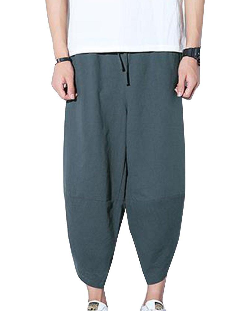 Uomo Pantaloni Larghi Hip Hop Pantaloni Harem Danza Pantaloni Baggy Casual Pinocchietti Con Tasconi LaoZanA