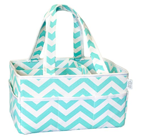 - June Bug Baby Diaper Caddy - Storage Bin for Diapers and Baby Wipes - Home, Car, and Nursery Organizer - Unisex Turquoise Chevron Design