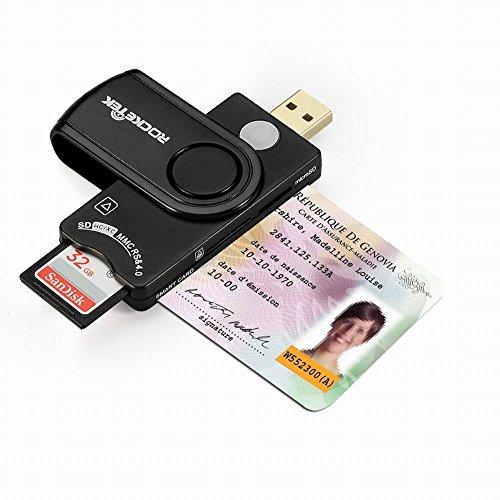 USB Smart Card Reader, Rocketek DOD Military USB CAC Memo...