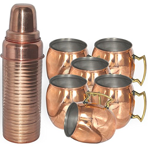 DakshCraft Pure Copper Thermos Lining Bottle with 6 Copper Moscow Mule Mug Sets Dutch Style Lacquered Finish