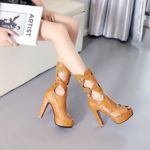Chic Dark Heel High Boots faux Womens Spring Summer Leather Yellow Latasa SCxP05qwRn
