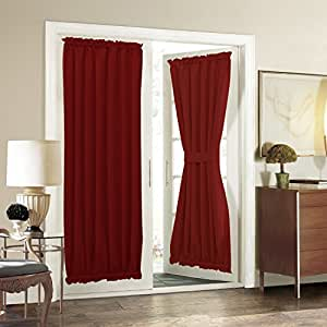 """Aquazolax Solid Blackout Thermal Curtains French Door Panels, 54"""" W x 72"""" L, Red"""