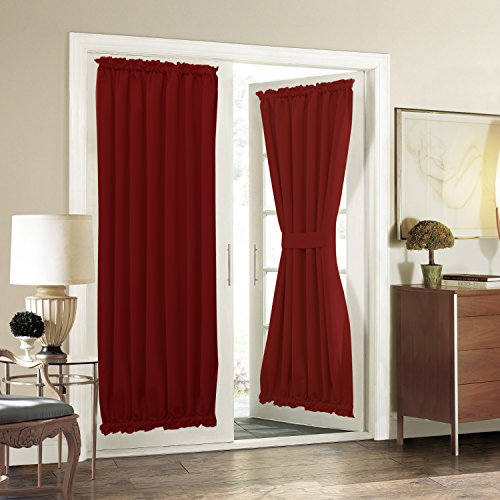 Aquazolax Solid Blackout Thermal Curtains French Door Panels, 54″ W x 72″ L, Red