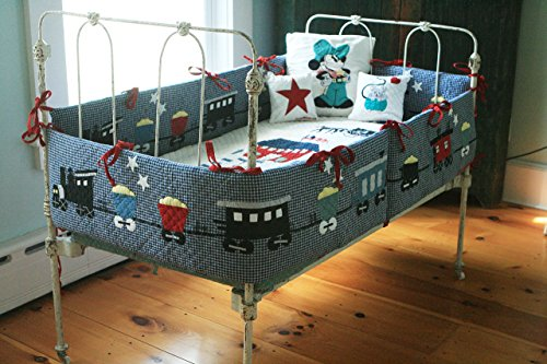 ''Loco Local'' A train Your little Boy can sleep with Navy/ White. Its Engine- Its coaches- Its rail cars- Its payloads- It's recognizable ! It's Handmade! by JUDI BOISSON