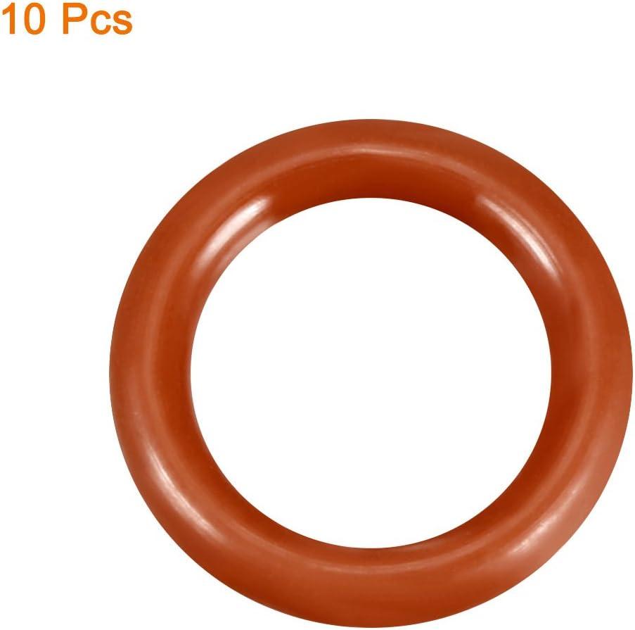 VMQ Seal Rings Sealing Gasket Red 2.4mm Width Silicone O-Ring 10PCS 15.2mm Inner Diameter 20mm Outside Diameter