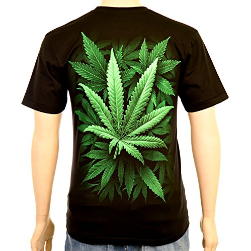 Green Cannabis Leafes - Rock Eagle T-Shirt Glow in the Dark Weed THC Ganja