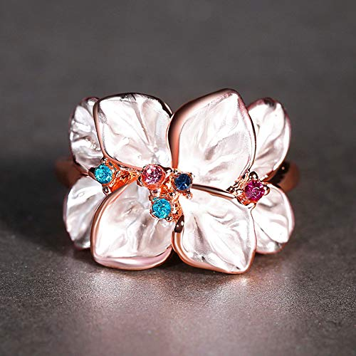 Slendima Petal Shape Faux Crystal Ring Women Cocktail Party Banquet Fashion Jewelry Gift Rose Gold US 9 by Slendima (Image #4)