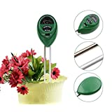 Soil Moisture Meter, 3-in-1 Soil pH Meter, Light and pH / acidity Meter Plant Tester for Houseplants, Outdoor Plants, Bonsais, Succulents, Trees, Grass and Lawn (No Battery Required)