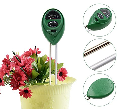 New Soil Moisture Meter, 3-in-1 Soil pH Meter, Light and pH / acidity Meter Plant Tester for Housepl...
