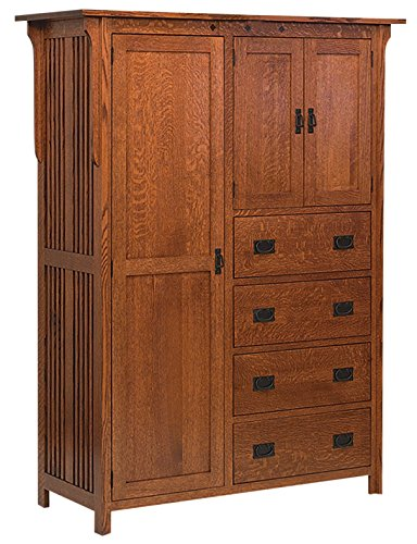 Amish Heirlooms Solid Oak Royal Mission Chifferobe with 4 Drawers & 3 Doors, 22 x 56 x 73, Charcoal Finish