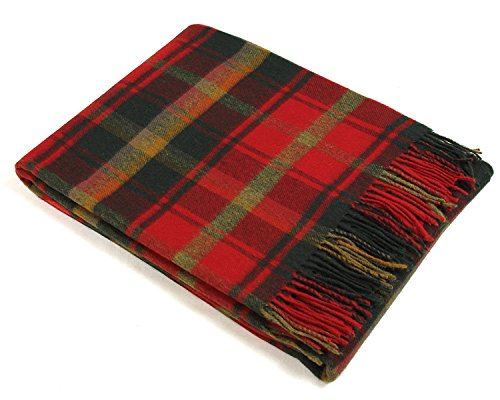 (Bronte Throw Blanket - Tartan Throw - Merino Lambswool (Dark Maple))