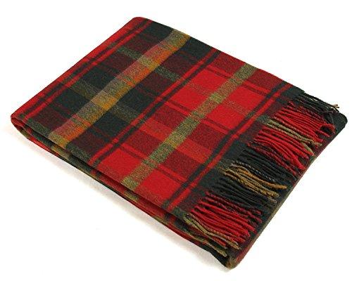 (Bronte Throw Blanket - Tartan Throw - Merino Lambswool (Dark Maple))