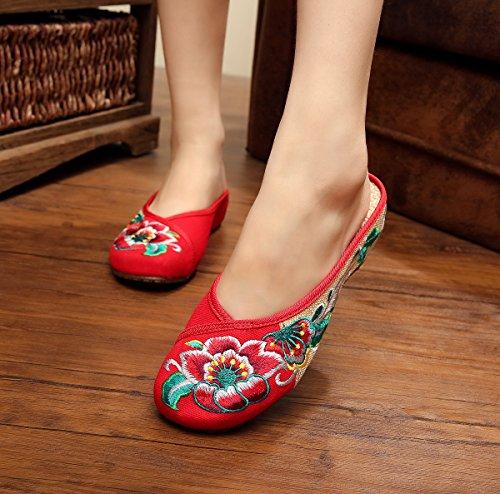 lenguado cómodo Chnuo estilo tendón del Suela femenino bordados manera étnico Zapatos flip Suave Chinos flop PlanosZapatos red sandalias finos Mujeres 48q4TrA