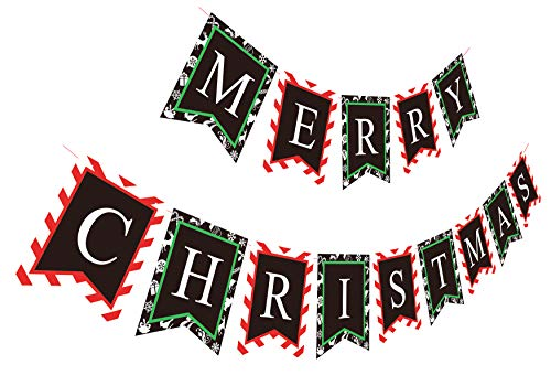 Merry Christmas Banner | Paper Red Green Black Xmas Sign for Fireplace Mantel Home Room Front Door