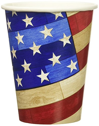 Amscan Old Glory Hot or Cold Drink Paper Cups Patriotic 4th of July Party Disposable Drinkware, 9 oz., Pack of 18.