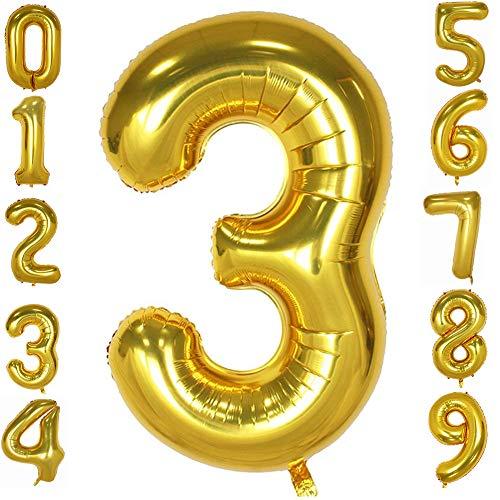 Tellpet Gold Number 3 Balloon, 40 Inch