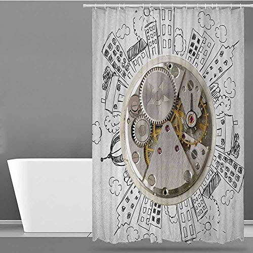 ONECUTE Hotel Style Shower Curtain,Clock an Alarm Clock with Clouds and Buildings Around It in Vintage Style Pattern Design,Shower Hooks are Included,W72x84L Pale Grey