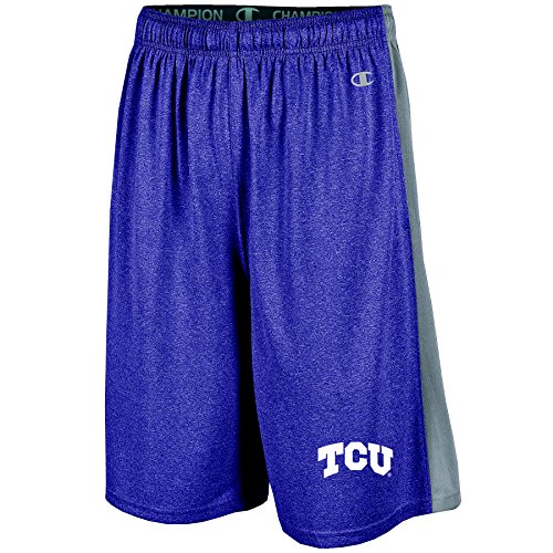 NCAA Tcu Horned Frogs Men's Heather Jersey Color Blocked Training Shorts, X-Large, Purple Heather