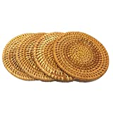 Rattan Handmade Drink Coaster Coffee Cupmat Tea Cup Mat Teapot Vine Placemat Rattan Decorative Holder for Kitchen Table Drinks Crafts Table Desk Office Hotel Coffee Shop (4, 3.94″) For Sale