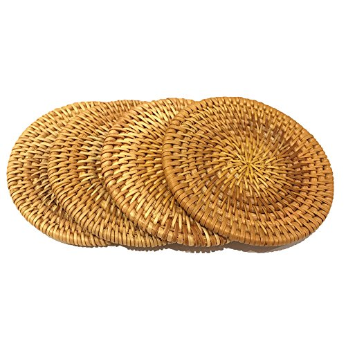 """Rattan Handmade Drink Coaster Coffee Cupmat Tea Cup Mat Teapot Vine Placemat Rattan Decorative Holder for Kitchen Table Drinks Crafts Table Desk Office Hotel Coffee Shop (4, 3.94"""")"""