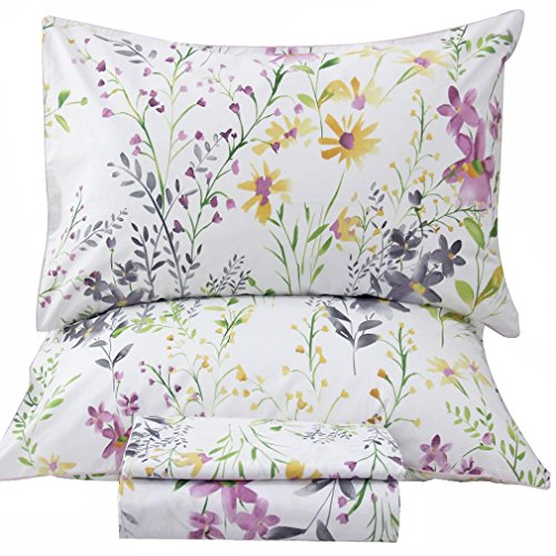 SexyTown Floral Print Bedding Sheet Set Egyptian Cotton Sheets 4-Piece Queen Size ()