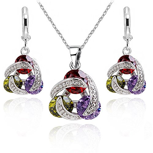 Set Colourful Swarovski Crystals 18K White Gold GP Beauty Necklace Earrings New