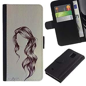iBinBang / Flip Funda de Cuero Case Cover - Hairstyle Art Wavy Portrait Anonymous Beauty - Samsung Galaxy Note 4 SM-N910