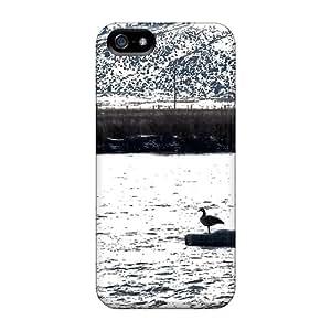 Hot Design Premium PjhiBjA683sbOqD Tpu Case Cover Iphone 5/5s Protection Case(river Geese)