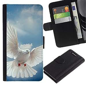 Billetera de Cuero Caso del tirón Titular de la tarjeta Carcasa Funda del zurriago para Sony Xperia Z1 Compact D5503 / Business Style Bird Dove Wings Flying Sky God Hope